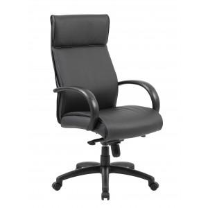 High Back Executive Chair / Black Finish / Black Upholstery / Knee Tilt