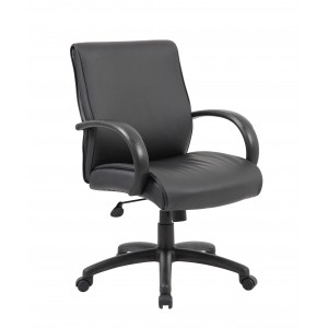 Mid Back Executive Chair / Black Finish / Black Upholstery
