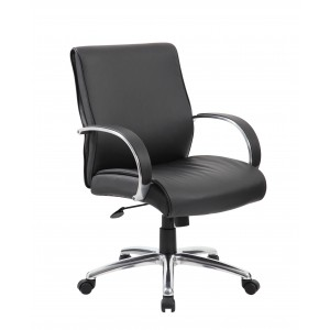 Mid Back Executive Chair / Aluminum Finish / Black Upholstery