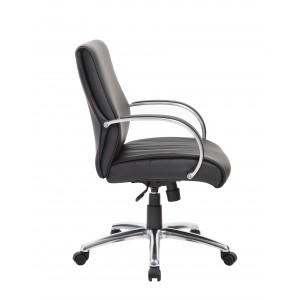 Mid Back Executive Chair / Aluminum Finish / Black Upholstery / Knee Tilt