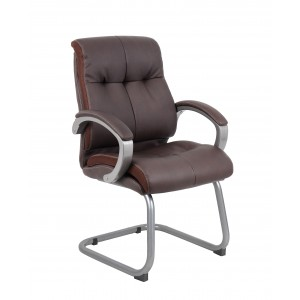 Double Plush Executive Guest Chair - Bomber Brown