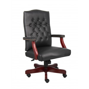 Classic Black Caressoft Chair With Mahogany Finish Frame