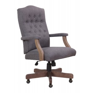 Executive Slate Grey Commercial Grade Linen Chair With Driftwood Finish Frame