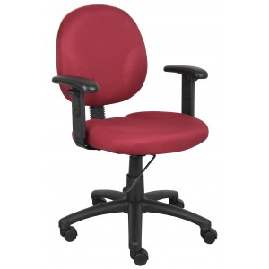 Diamond Task Chair In Burgundy W/ Adjustable Arms