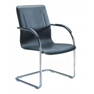 Chrome Frame Black Vinyl Side Chair, 4Pcs Per Pack