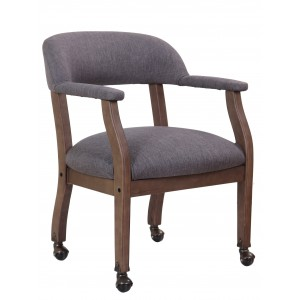 Modern Captain's Chair in Slate Grade Commercial Grade Linen With Casters