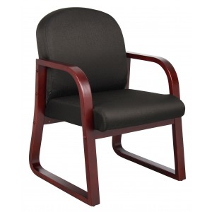 Mahogany Frame Side Chair In Black Fabric