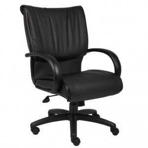 Mid Back Black LeatherPlus Executive Chair W/ Knee Tilt