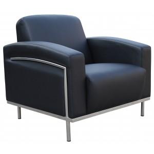 Black CaressoftPlus Lounge Chair W/Chrome Frame