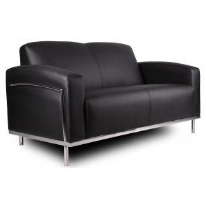 Black CaressoftPlus Loveseat W/Chrome Frame