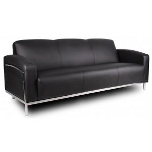 Black CaressoftPlus Sofa W/Chrome Frame