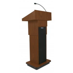 Executive Adjustable Column Lectern - Wired Sound - Mahogany