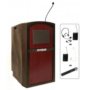 Pinnacle Full Height Lectern - Wireless Sound - Mahogany