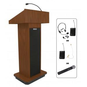 Executive Column Lectern - Wireless Sound - Mahogany