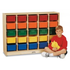 Jonti-Craft® E-Z Glide 25 Cubbie-Tray Mobile Storage - with Colored Trays