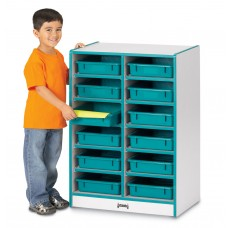 Rainbow Accents® 12 Paper-Tray Mobile Storage - with Paper-Trays - Blue