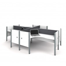 Pro-Biz Four L-desk workstation in White with Gray Tack Boards