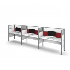 Pro-Biz Triple side-by-side workstation in White with Red Tack Boards