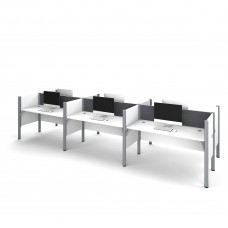 Pro-Biz Six workstation in White with Gray Tack Boards