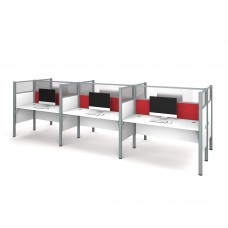Pro-Biz Six workstation in White with Red Tack Boards
