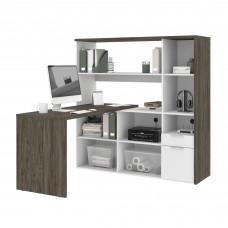Bestar Gemma L-Shaped Desk - Walnut Grey & White