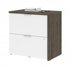 Bestar Gemma Lateral File Cabinet - Walnut Grey & White
