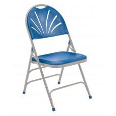 Blue Polyfold Fan Back Triple Brace Double Hinge Folding Chairs Carton of 4