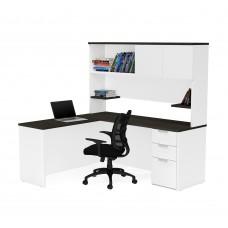 Pro-Concept Plus L-Desk with Hutch in White & Deep Grey