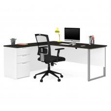 Pro-Concept Plus L-Desk with Metal Leg in White & Deep Grey