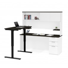 Pro-Concept Plus Height Adjustable L-Desk with Hutch in White & Deep Grey