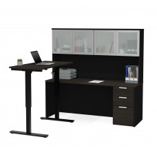 Pro-Concept Plus Height Adjustable L-Desk with Frosted Glass Door Hutch in Deep Grey & Black