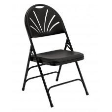 Black Polyfold Fan Back Triple Brace Double Hinge Folding Chairs Carton of 4
