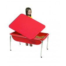 Children's Factory Large Sensory Table & Lid Set for Kids in Red (36 x 24 x 18 in)