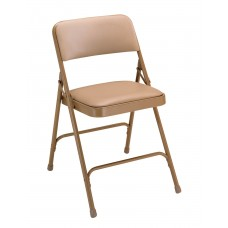French Beige Vinyl Upholstered Premium Folding Chairs Carton of 4