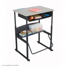 "AlphaBetter Adjustable-Height Stand-Up Desk, 28 x 20"" Standard Top, Book Box and Swinging Footrest Bar - Black (frame);Beige (top)"