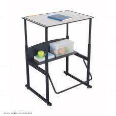 "AlphaBetter Adjustable-Height Stand-Up Desk, 28 x 20"" Premium Top and Swinging Footrest Bar - Gray (top);Black (frame)"