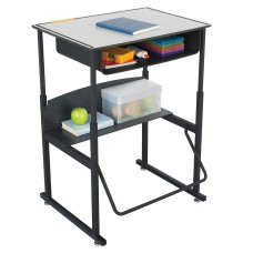 """AlphaBetter Adjustable-Height Stand-Up Desk, 28 x 20"""" Premium Top, Book Box and Swinging Footrest Bar - Gray (top);Black (frame)"""