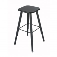 AlphaBetter Adjustable-Height Student Stool with Thermoplastic Seat and Tip-Resistant Base - Black (seat);Black (frame)