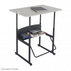 """AlphaBetter Adjustable-Height Stand-Up Desk, 36 x 24"""" Standard Top and Swinging Footrest Bar - Black (frame);Beige (top)"""