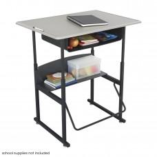 "AlphaBetter Adjustable-Height Stand-Up Desk, 36 x 24"" Standard Top, Book Box and Swinging Footrest Bar - Black (frame);Beige (top)"