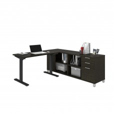 Pro-Linea Height Adjustable L-Desk in Deep Grey