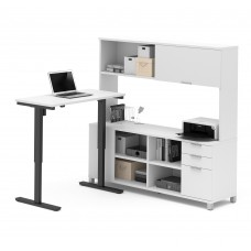 Pro-Linea Height Adjustable L-Desk with Hutch in White