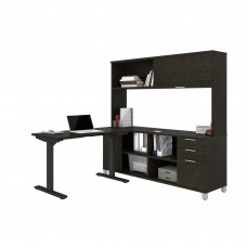 Pro-Linea Height Adjustable L-Desk with Hutch in Deep Grey