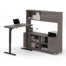 Pro-Linea Height Adjustable L-Desk with Hutch in Bark Gray