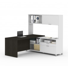 Pro-Linea L-Desk with hutch in White & Deep Grey