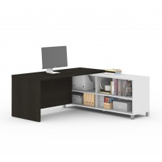 Pro-Linea L-Desk in White & Deep Grey