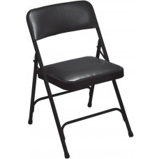 Caviar Black Vinyl Upholstered Premium Folding Chairs Carton of 4