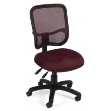 OFM Core Collection Comfort Series Ergonomic Mesh Mid Back Armless Task Chair, in Wine (130-A03)
