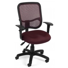 OFM Comfort Series Ergonomic Mesh Swivel Task Chair with Arms, Mid Back, in Wine (130-AA3-A03)
