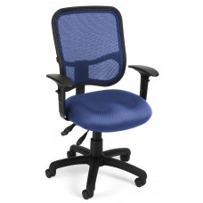 OFM Comfort Series Ergonomic Mesh Swivel Task Chair with Arms, Mid Back, in Navy (130-AA3-A04)